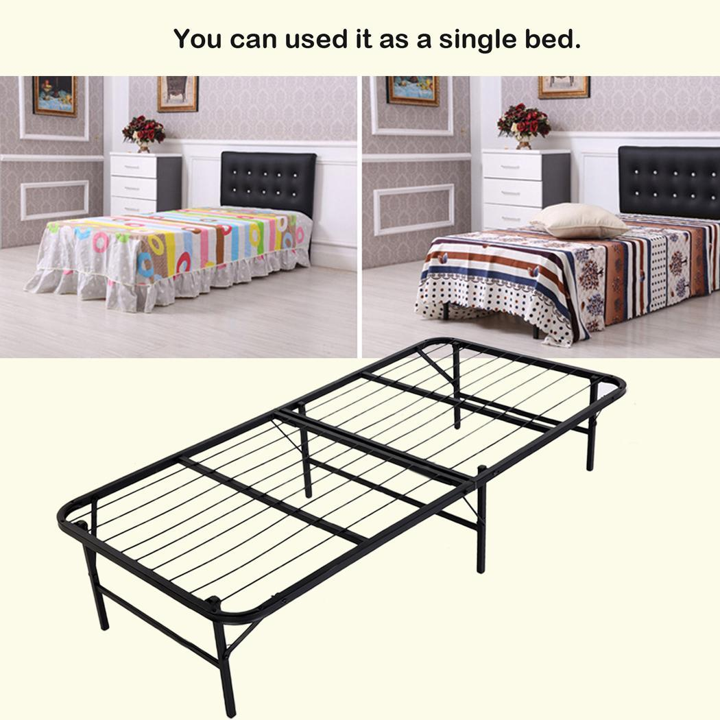 Folding Platform Bed Frame Base Mattress Foundation Metal Black Twin Size OTST