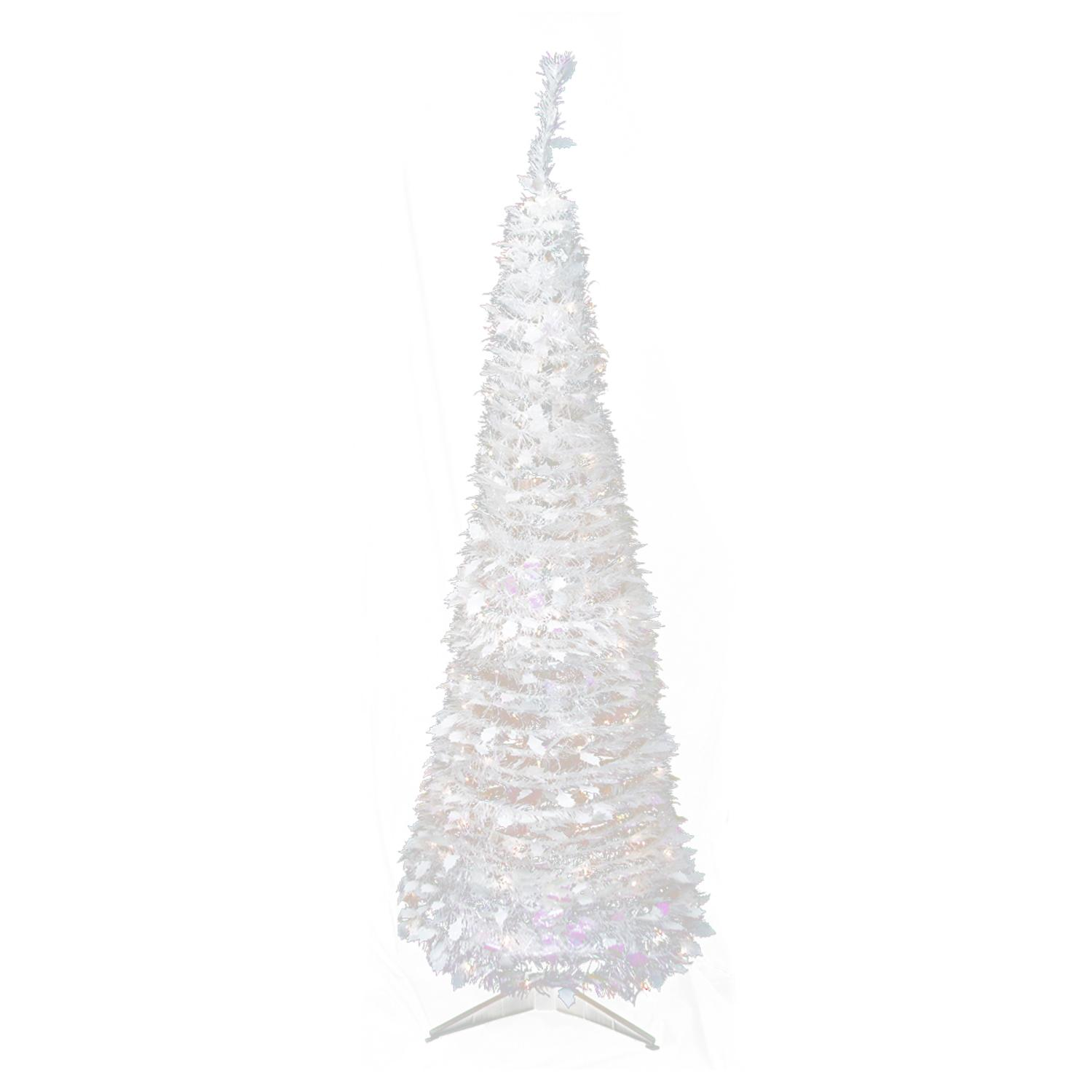 6 Pre Lit Pop Up Iridescent Tinsel Artificial Christmas Tree