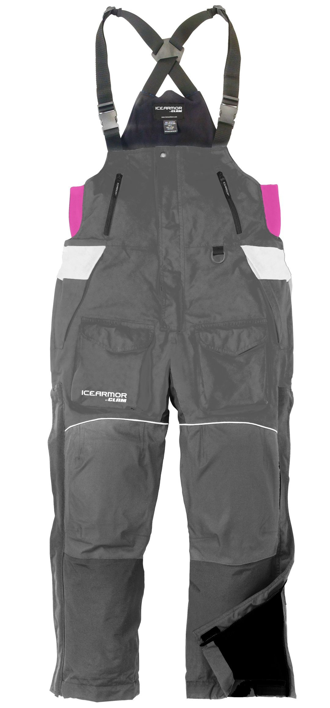 New Clam Outdoors IceArmor Womens Lift 300D Bib Grey White Pink by Clam Outdoors