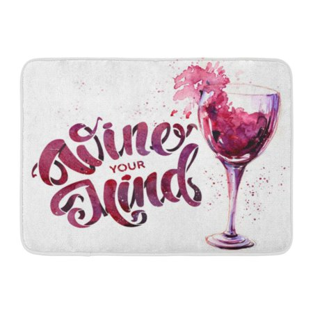 GODPOK Alcohol White Bottle Glass of Red Wine and Lettering Watercolor Abstract Bar Rug Doormat Bath Mat 23.6x15.7 (Best Low Alcohol Wine)