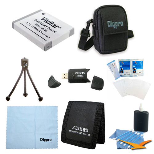 Special Loaded Value BP-6L Battery Kit for Canon SX500, SX260, D10, S95 & 500HS - Includes BP-6L 1100mah Battery Pack, Carrying Case, USB 2.0 Card Reader, Mini Tripod, 3 Card Memory Card Wallet, Clea