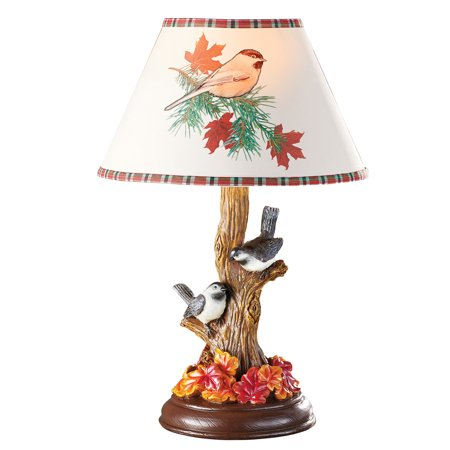 Bird Table Lamp - Chickadee Birds Decorative Table Lamp with Fall Leaves and Tree Base, Hand Painted Cabin Décor