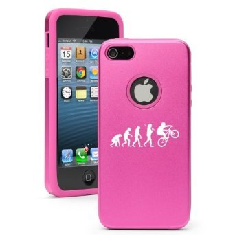 Apple iPhone 6 6s Shockproof AS Aluminum & Silicone Hard Soft Case Cover Evolution Mountain BMX Bike (Hot Pink),Daylor