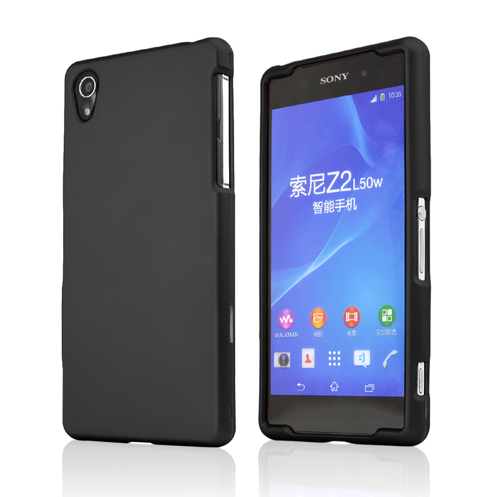 Sony Xperia Z2 Case, [Black] Slim & Protective Rubberized Matte Finish Snap-on Hard Polycarbonate Plastic Case Cover