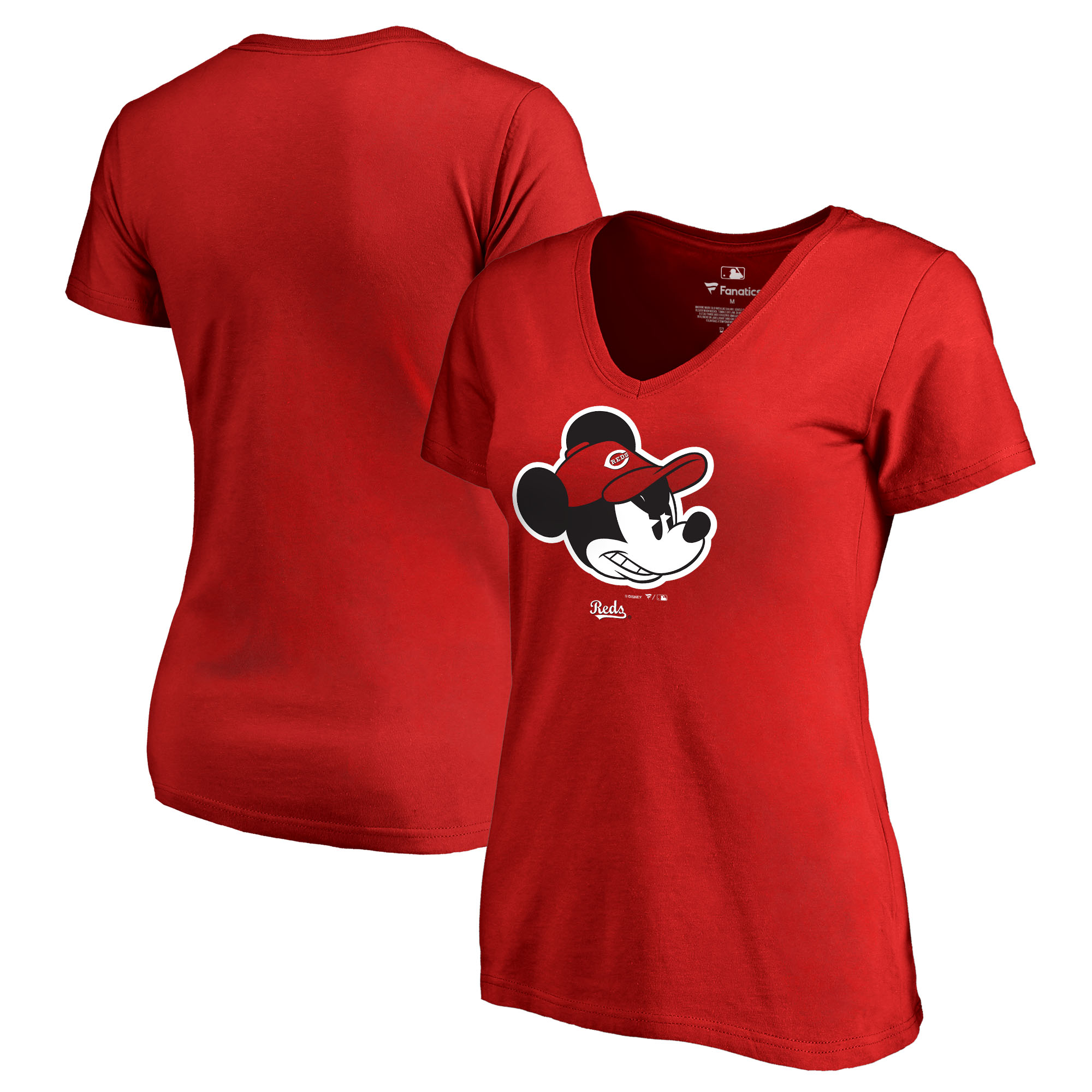 Cincinnati Reds Fanatics Branded Women's Disney Game Face V-Neck T-Shirt - Red