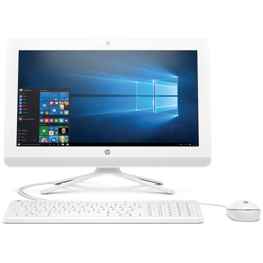 "Certified Refurbished HP Snow White 20-c013w All-in-One Desktop PC with Intel Celeron J3060 Processor, 4GB Memory, 19.5"" Monitor, 500GB Hard Drive and Windows 10 Home"