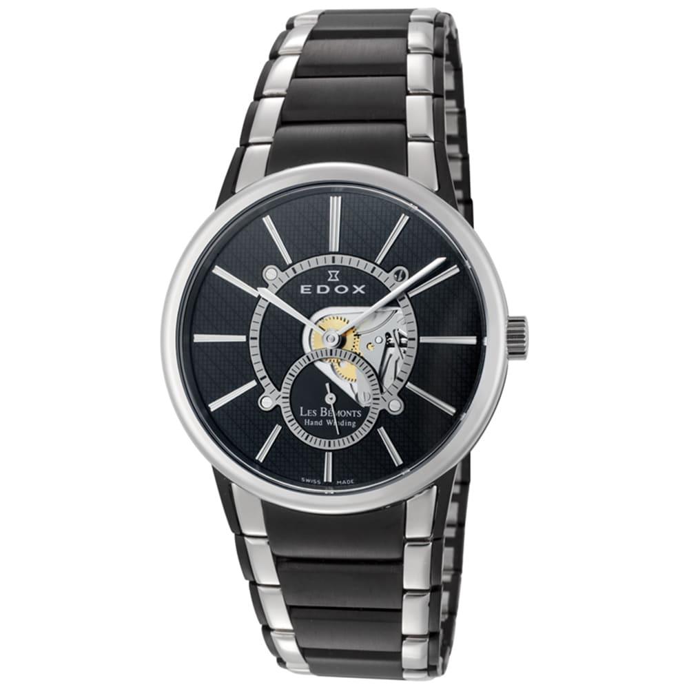 Edox  Men's ED-72011 357N NIN Black and Silvertone Watch
