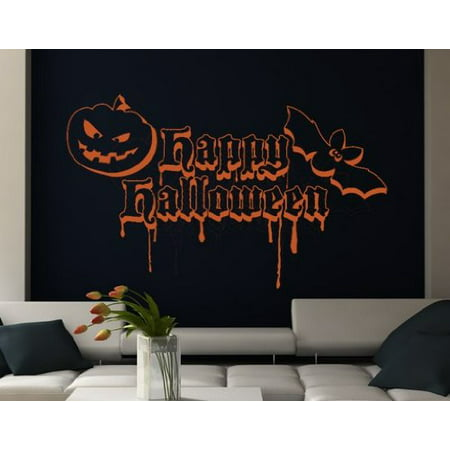 Happy Halloween Quote with Bat and Pumpkin Wall Decal - Wall Sticker, Vinyl Wall Art, Home Decor, Wall Mural - 2061 - 59in x 36in, Dark gray