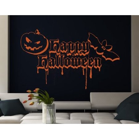 Happy Halloween Quote with Bat and Pumpkin Wall Decal - Wall Sticker, Vinyl Wall Art, Home Decor, Wall Mural - 2061 - 59in x 36in, Dark gray](Happy Halloween Quotes For Him)