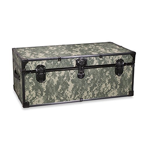 Luggage 30-Inch Storage Footlocker in Camouflage, Mercury Luggage Footlocker Trunk features padlock with key hasp By Mercury