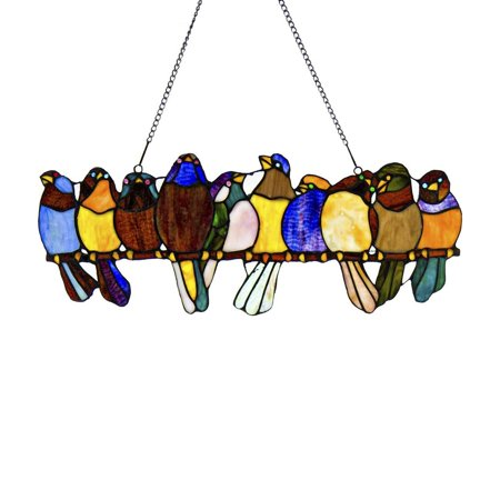 River of Goods Stained Glass Birds on a Wire Window Panel (Stained Glass Illuminated Wall Decor)