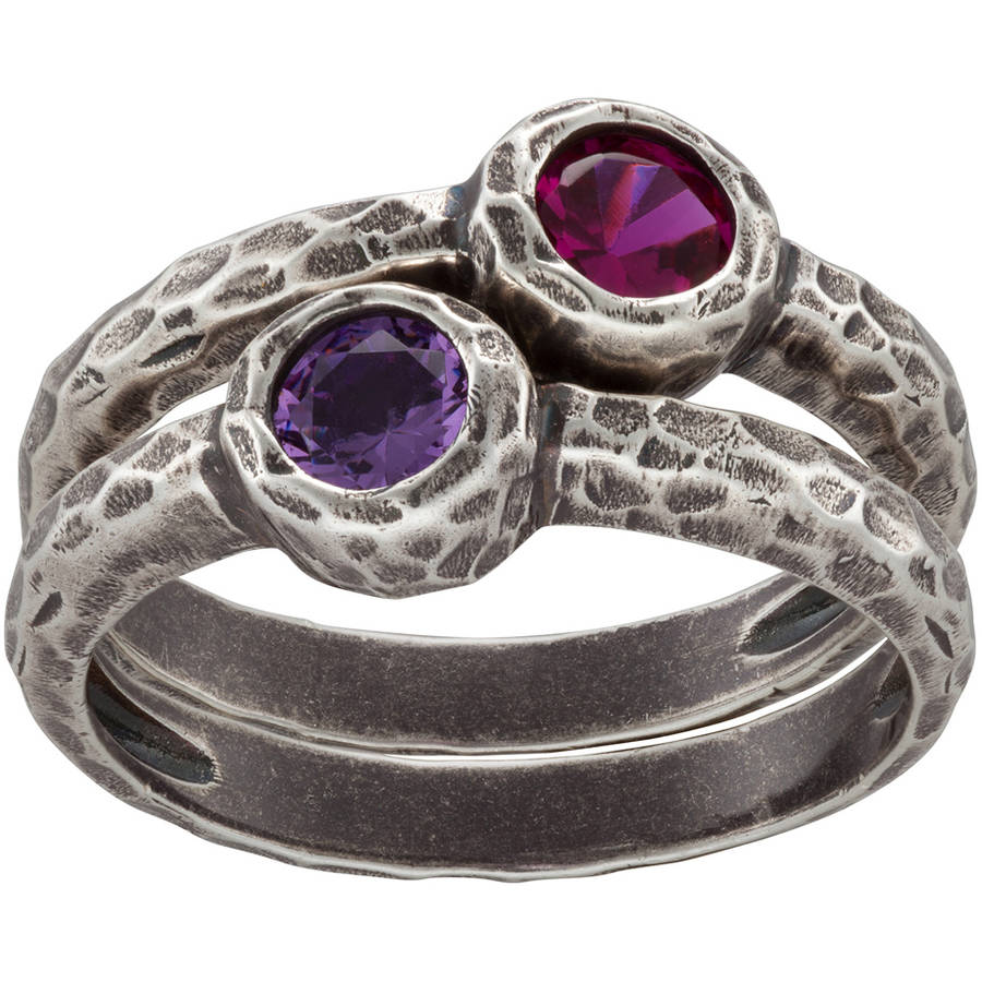 Personalized Sandra Magsamen Sterling Silver Stackable Birthstone Ring Set