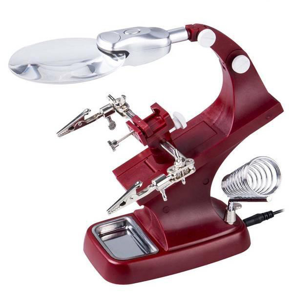 iMeshbean Helping Hand Soldering Stand with LED Light Clip Magnifier Magnifying Glass USA