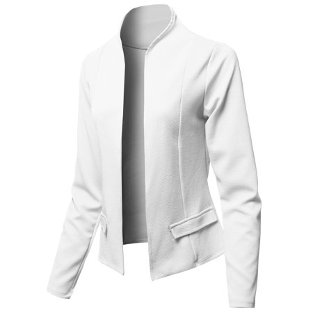 FashionOutfit Women's Solid Classic Lightweight Shrug Blazer Jacket - Made in USA Classic Tailored Blazer