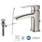 RIVUSS Ebro Single Handle Lead-Free Brass Bathroom Faucet with Pull Out Drain