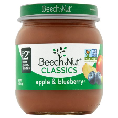 Beech-Nut Classics Apple & Blueberry Baby Food Stage 2 from About 6 Months, 4 oz, 10