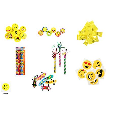 Emoji Ultimate Party Favor Pack 48 PC + Light Up Smiley *BONUS*](Party Smiley Face)