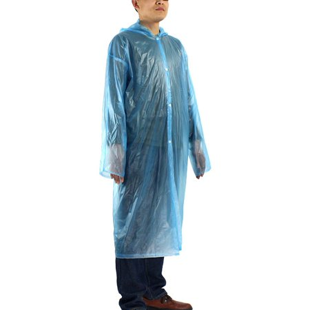 Blue One Size Travel Adult Disposable Thicken PVC Hooded Raincoat Rain
