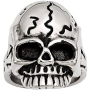 Stainless Steel Polished and Antiqued Skull Ring, Available in Multiple Sizes