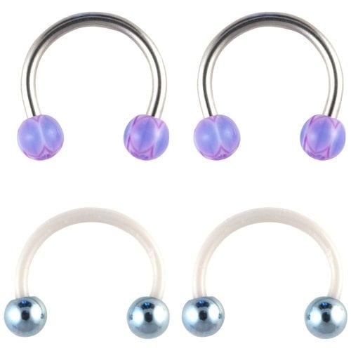 Hot Silver Basics Surgical Steel Horseshoe Earrings Set, Multi-Colored
