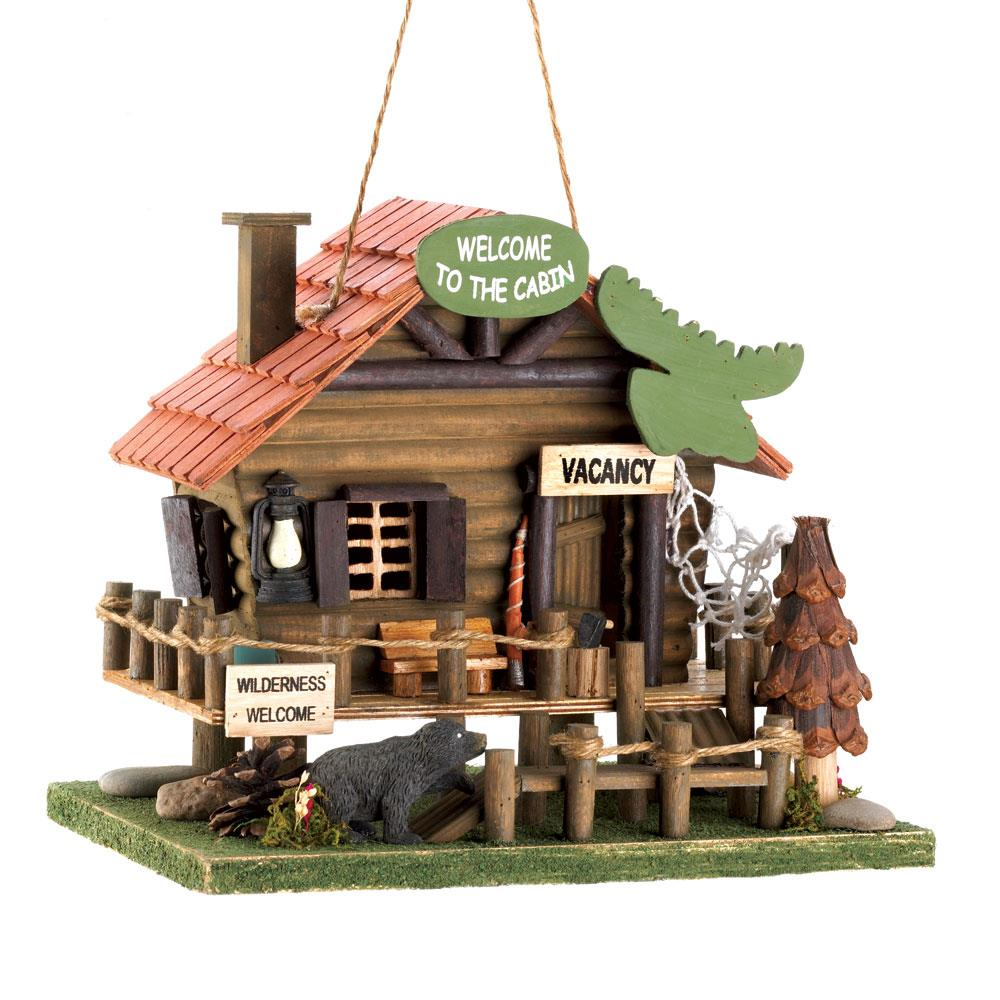 Wooden Birdhouses, Finch And Woodpecker Birdhouse Woodland Cabin by Songbird Valley