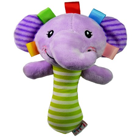 Elephant Stick (Jeobest 1PC Cute Animal Shaped Baby Cartoon Hand Ring Bell Kid Plush BB Stick Toys Handbell Squeeze Rattle Toy Newborn Grabbing Toy (Elephant) MZ )