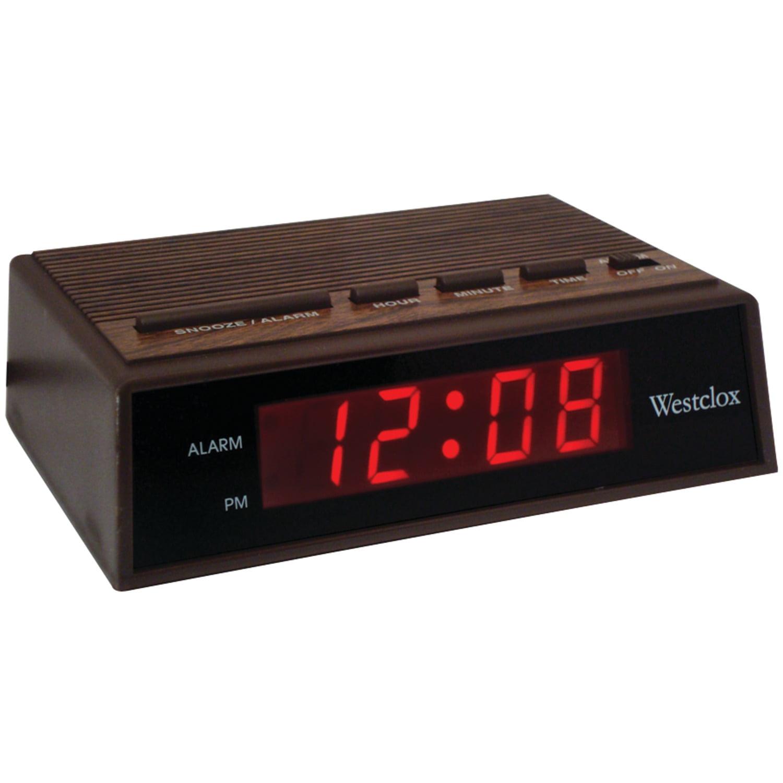 """Westclox 22690 .6"""" Retro Wood Grain LED Alarm Clock ..."""