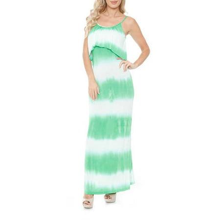 White Mark Women's Tie Dye Overlay Maxi Dress