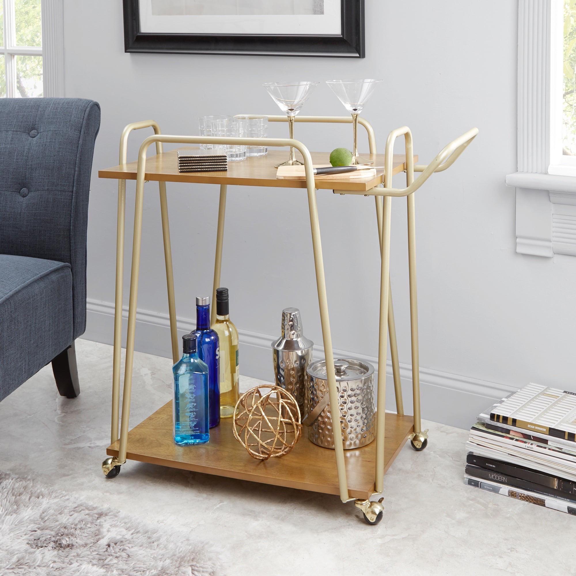 Better Homes & Gardens Giana Metal & Wood Modern Bar Cart, Gold Finish