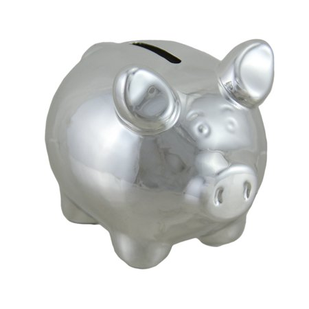 Portly Pig Metallic Chrome Finish Mini Ceramic Coin Bank 4 Inch](Pink Pig Bank)