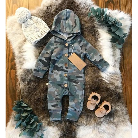 Lookwoild Kids Baby Boy Camo Romper Jumpsuit Bodysuit Hooded Clothes Sweater Outfit