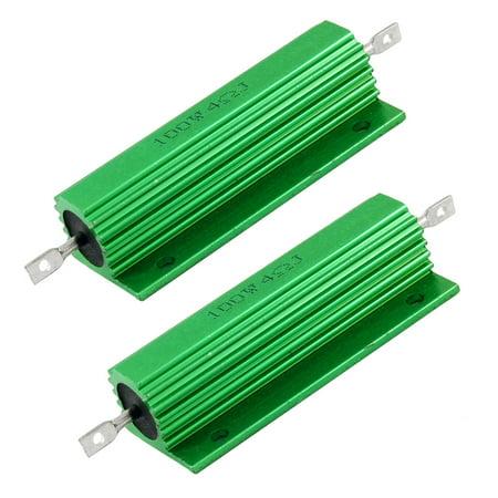 - Green 4 Ohm 5% 100 Watt Aluminum Shell Wire Wound Resistor 2pcs