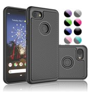 Njjex Case for Google Pixel 3A / Pixel 3A XL / Pixel 3 / Pixel 3 XL, Njjex Shock Absorbing Dual Layer Silicone & Plastic Bumper Rugged Grip Hard Protective Cases Shell -(Black)
