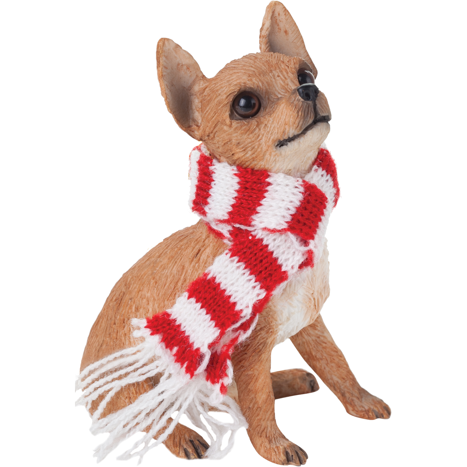Sandicast Sitting Tan Chihuahua with Scarf Christmas Dog Ornament