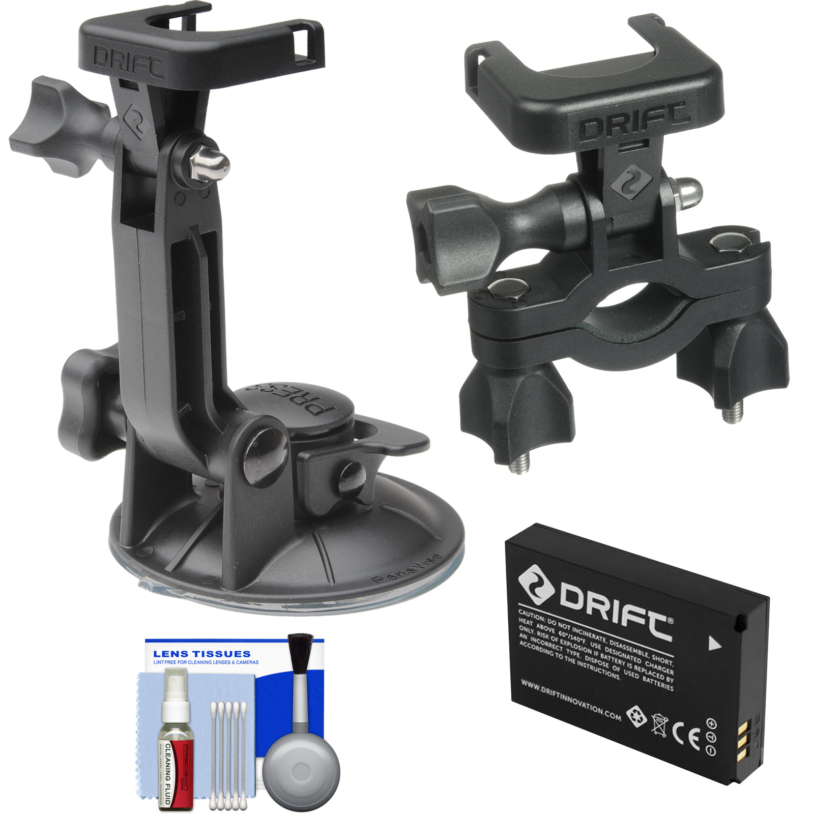 Drift Innovation Suction Cup Mount with Handlebar Bike Mount + Battery + Accessory Kit for HD Ghost & Ghost-S Action Camcorders