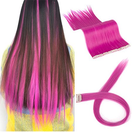 FLORATA 11PCS Straight Colored Clip in Hair Extensions Party Highlight Multiple Colors Hairpieces - Color Hair Extensions