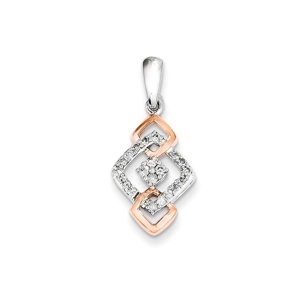 Sterling Silver 0.25ct Rhodium Plated & 14k Rose Gold Diamond Fashion Pendant