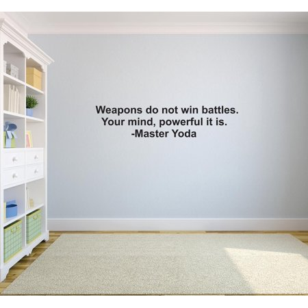 76702767a Weapons Do Not Win Battles. Your Mind, Powerful It Is. - Master Yoda Quote  Life Custom Wall Decal Vinyl Sticker 8 Inches X 30 Inches - Walmart.com