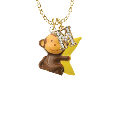 """Resin Monkey Hugging a Banana - M - Gold Tone Crystal Initial Sophia Necklace, 18""""+1"""""""