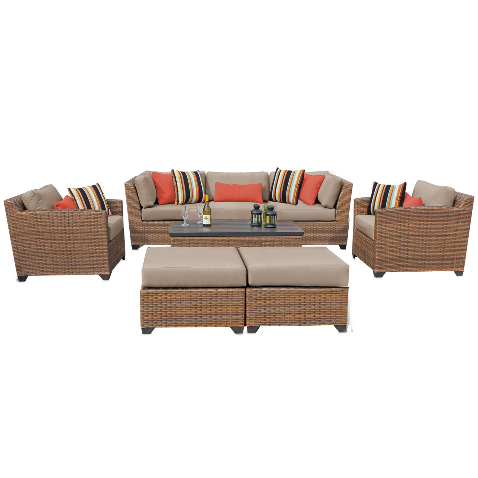 Tuscan 8 Piece Outdoor Wicker Patio Furniture Set 08c by TK Classics