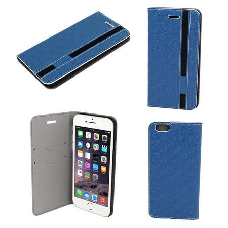 """Unique Bargains Blue Faux Leather Flip Case Cover for Apple iPhone 6 6G 6th 4.7"""""""