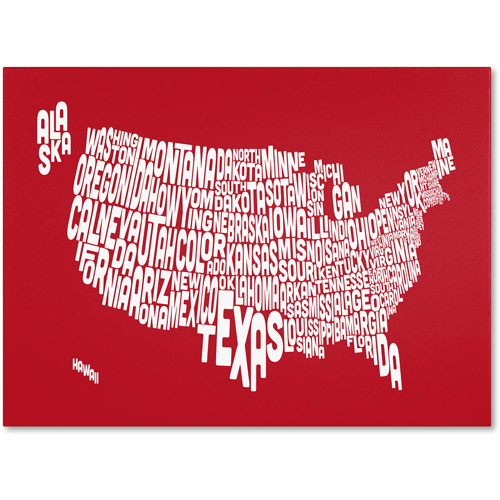 Trademark Art 'RED-USA States Text Map' Canvas Art by Michael Tompsett