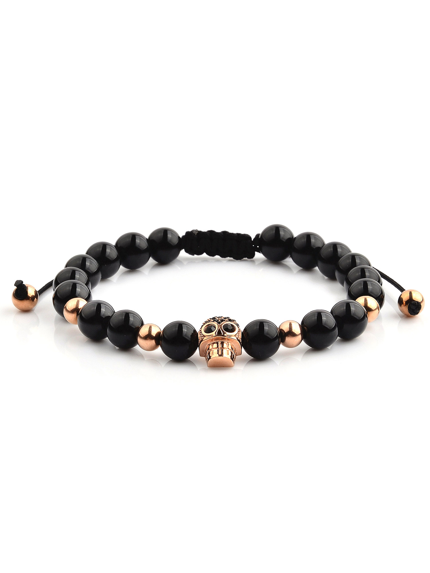 Rose Gold Plated Stainless Steel Skull Onyx Beaded Adjustable Bracelet (12mm Wide)
