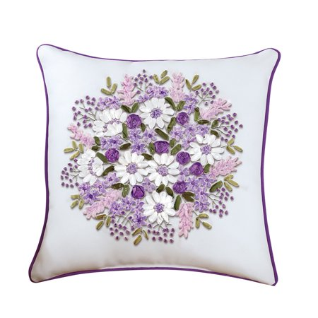 (Lilac Purple Floral Bouquet Embroidered Ribbon Accent Pillow - 16
