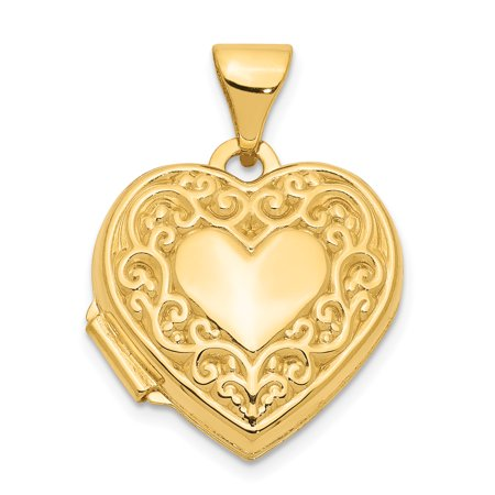 (14k Yellow Gold Scroll Heart Photo Pendant Charm Locket Chain Necklace That Holds Pictures For Women Gift Set)