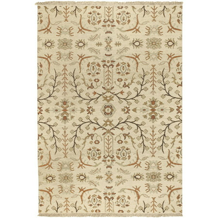 2' x 3' Persian Market Khaki and Turtle Green Fringed Wool Area Throw Rug