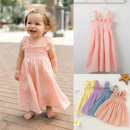 Summer Sweet Baby Girls Cotton Linen Dress Sleeveless Stretch A-Line Plested Dresses Princess Party Sundress Children