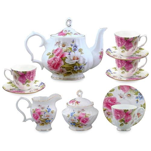 Grace's Tea Ware 11 Piece Bone China Grace's Rose Tea Set by