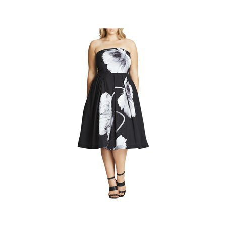City Chic Womens Plus Silk Strapless Party Dress](Party City Oshkosh)
