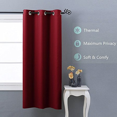 Nicetown Thermal Insulated Grommet Blackout Curtains For Bedroom W42 X L63 Burgundy Red